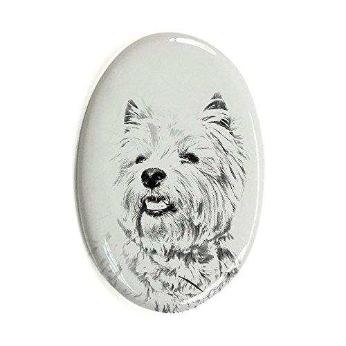 West hochland weiß Terrier, Oval Grabstein aus Keramikfliesen mit einem Bild eines Hundes
