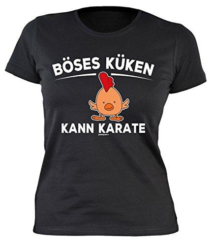 Lustiges Fun Damen-Shirt Ostern - Osterhasen - Geschenk-Shirt Osternest Frau : Böses Küken Kann Karate - Damen T-Shirt Sprüche/Motive Oster-Fest Gr: L