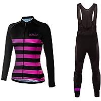 Sports Wear UGLYFROG Mujer Maillots de Bicicleta Conjunto de Ropa de Ciclo Jersey de Manga Larga+Bib Pantalones Acolchados Cómodo Respirable Secado Rápido