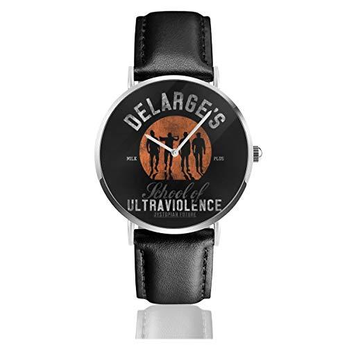 Unisex, orologio al quarzo con cinturino in pelle nera per uomo e donna, ideale come regalo per la scuola di ultravioletti