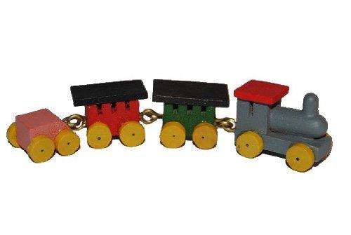 Eisenbahn Holz - Miniatur - für Puppenstube Puppenhaus - Maßstab 1:12 bunt / Puppe - Zug Dampflok Züge Bahn Bahnhof - Reise - Diorama - Zugreise Zugfahrt Miniatur-zug