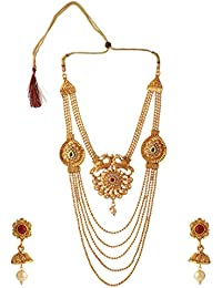 Efulgenz Traditional Ethnic Gold Plated Temple Necklace Earrings Jewellery Set For Women (Style Options)