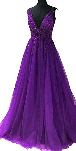 Aurora dresses Damen V-Ausschnitt Abendkleider Für Hochzeit Gleaming Pailletten Brautjungfer...