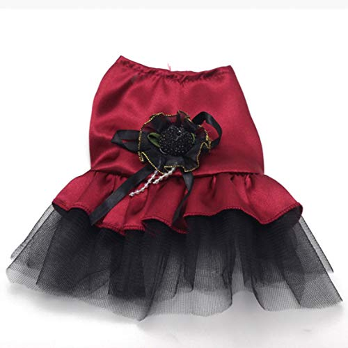 Kongqiabona Dog Cat Dress with Bowknot Lace Patchwork Skirt Mini Princess Dress Fashion Pet Dog Wedding Party Costume Clothes