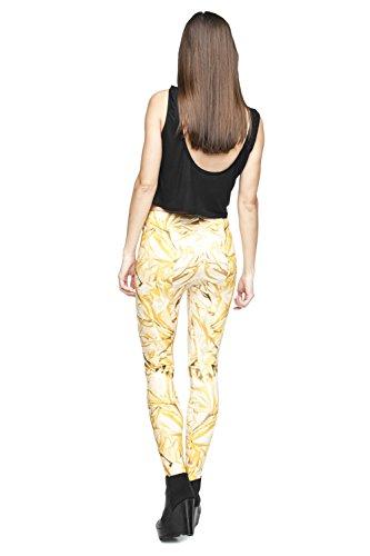 Damen Sport Leggings Hipster Jogahose Muster Sporthose Mädchen Lang Treninganzug Blogger Fullprint Onesize Gold