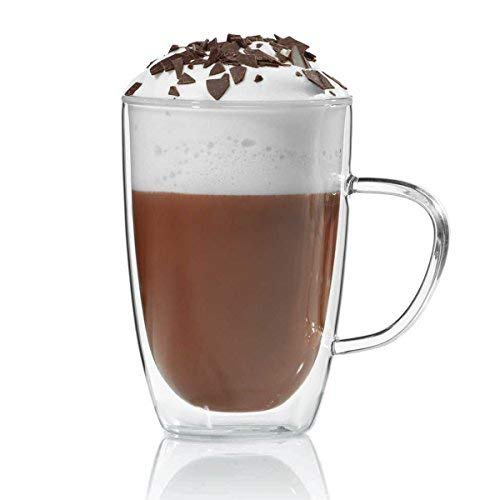 Dimono Tazza termica a doppia parete, 300 ml, per tè o caffè, in vetro soffiato