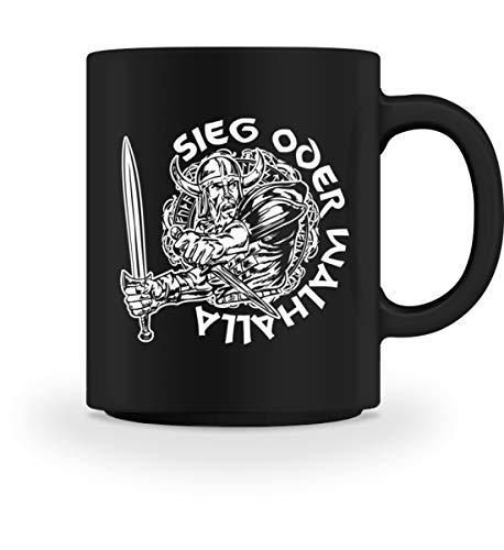 PlimPlom Sieg Oder Walhalla Wikinger Vikings Spruch Kaffeetasse Geschenkidee - Tasse -M-Schwarz