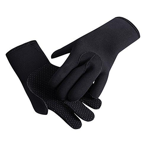 Tofern Handschuhe, Neckholder, 3 mm Dick, Rutschfest, Nylon, Wasserdicht, stoßfest, UV-beständig S Schwarz