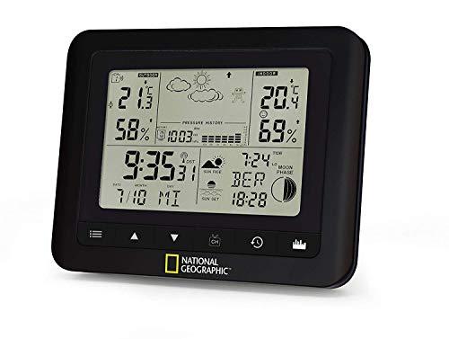 National Geographic Funkwetterstation mit Wettervorhersage, Temperaturtrend, Innen- und Außentemperatur und Luftfeuchtigkeit, Luftdruck und vielem mehr, inklusive Außensensor