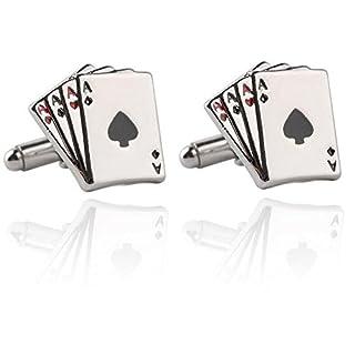 Vikenner ACE Poker Cufflinks Cuff Links Fashion Shirt Suit Cufflinks Shirt Accessories Knot Cuff Sleeve Button For Men's Business Wedding Jewelry Gift (Silver)