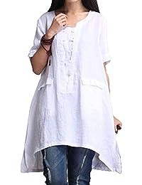 BOLAWOO Mujer Camisas Elegantes Anchos Talla Grande Camisas Lino Tunicas Mode De Marca Manga Corta Casuales
