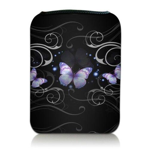 Luxburg® Design Tasche Hülle Sleeve für Kindle Paperwhite Kindle Voyage / Vision 3 HD / Vision2 / Vision 1 / Shine 2 HD, Pocketbook Touch Lux 3, Motiv: Schmetterlinge & florale Ornamente auf Schwarz