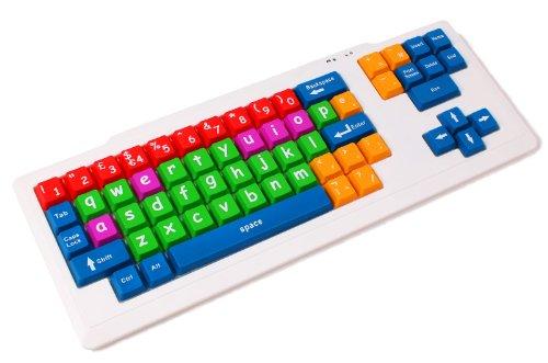 DURAGADGET Pädagogische Bunte USB Kinder-Lerntastatur mit Farbkodierung, ENGLISCHES QWERTY-Layout ideal für Kinder Sonderpädagogik Förderbedarf Behinderung