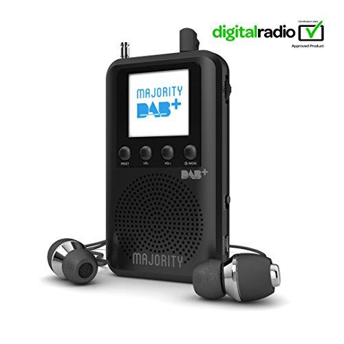 Majority Grantchester mobiles DAB/DAB+/FM-Digital-Radio - Integrierter Lautsprechern - Persönlich und kompakt - Nachladbare 20+ Stunden Wiedergabe - Kopfhörer inklusive (schwarz/blau) (Best-fm Radio Portable)