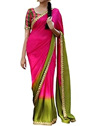 Peachmode Women's Pink-Green Partywear Printed And Embroidered Georgette Saree