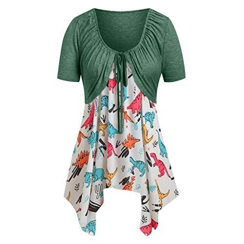 Vimoli Blusen Damen Frauen beiläufiges Einfarbig Kurzarm Tops Dinosaurier Taschentuch Cami Oberteil mit gedrucktes T-Stück Bluse(Grün,M)