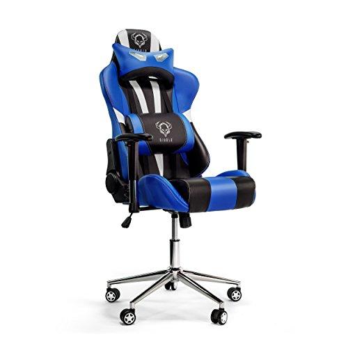 Diablo X-Eye Gaming Stuhl verstellbare Armlehnen belastbar bis 150 kg Wippfunktion Lendenkissen Kunstleder Farbauswahl (schwarz/blau)