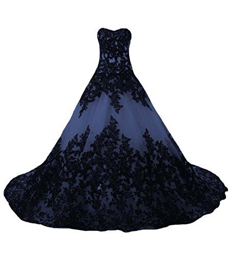 O.D.W Lange Spitze Vintage Brautkleider Frauen Gotisch Hochzeitskleider(Schwarz+NavyBlau, 40)