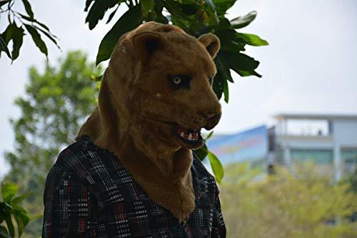 nachtsmasken Tiermaske Heißer Verkauf Handgemachte Halloween Einzigartige Produkt Braun Löwin Bewegen Mundmaske Erstaunliche Beliebte Tier Kopfmaske Erwachsene Tiermasken ()