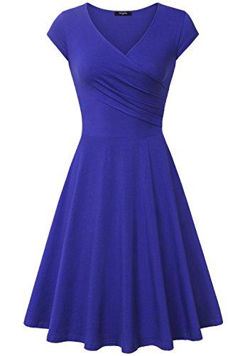 Lotusmile Damen A-Line V-Ausschnitt Kurzarm Casual Vintage Elegante Kleider, Blau XXL (Kleider Elegante)