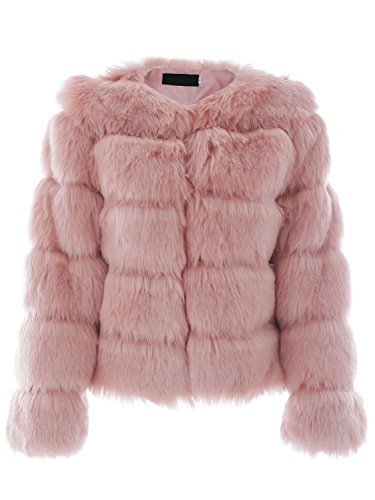 Rosa Winter-mantel-jacke (Simplee Apparel Damen Mantel Winter Elegant Warm Faux Fur Kunstfell Jacke Kurz Mantel Coat Rosa)