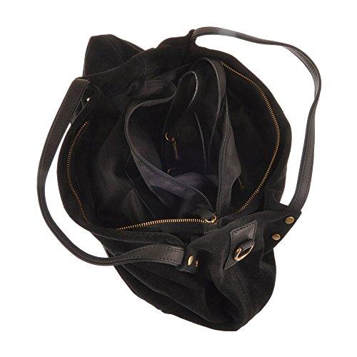 Pellevera Fleur Hobo Tasche, Eimer Handtasche, Schultertasche (schwarz) schwarz