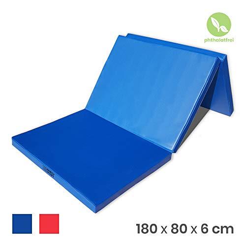 NiroSport Turnmatte 180 x 80 x 6 cm Gymnastikmatte Fitnessmatte Sportmatte Trainingsmatte Weichbodenmatte wasserdicht klappbar (Blau)