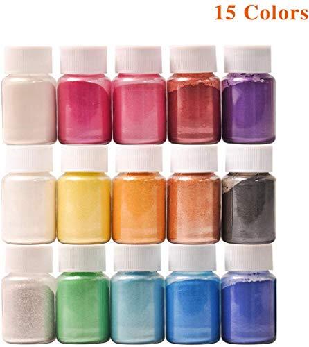 DEWEL ca.150g Naturale Pigmenti Coloranti Mica Powder ca.10g*15 Colori Mica Polvere Colorante Polveri Perlato per DIYSapone SlimeCandele Acquerello