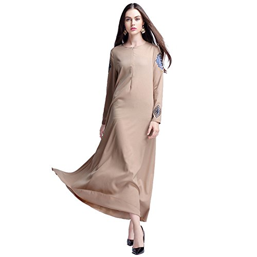 Muslimische Kleid Damen Casual Abendkleid Langarm Knöchellang Kleider Hochzeit Kaftan Robe Muslim...