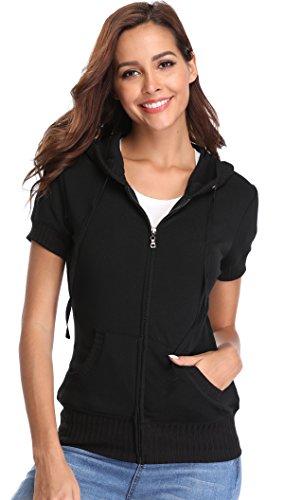 MISS MOLY Damen Kurzarm Kapuzenpullover Sweatjacke Hoodie Sweatshirt mit Reissverschluss Schwarz Small