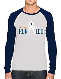 Bookmytees Cristiano Ronaldo Fan Art Printed Full Sleeves Cotton T-shirt For Men