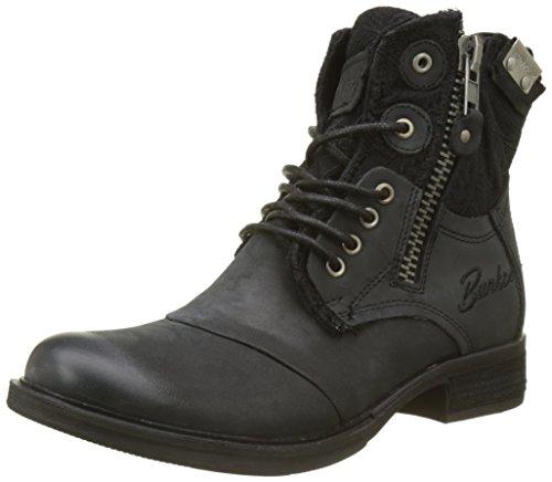 BUNKER Damen Zipy Kurzschaft Stiefel Noir (Black)