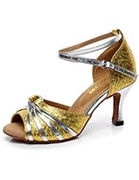 JSHOE Frauen PU Latin Salsa Tanzschuhe Salsa/Tango/Tee/Samba/Modern/Jazz Schuhe Sandalen High HeelsRed-heeled7.5cm-UK7...