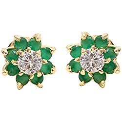 Geode Delight Daily Wear Flower Gold Plated American Diamond Green Stud Earring for Women