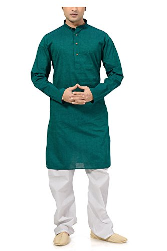 Ishin Cotton Green Wedding Wear Festive Wear Casual Wear Party Wear Bollywood Solid New Collection Latest Design Trendy Men's Kurta Pyjama (Pajama) Set  available at amazon for Rs.799