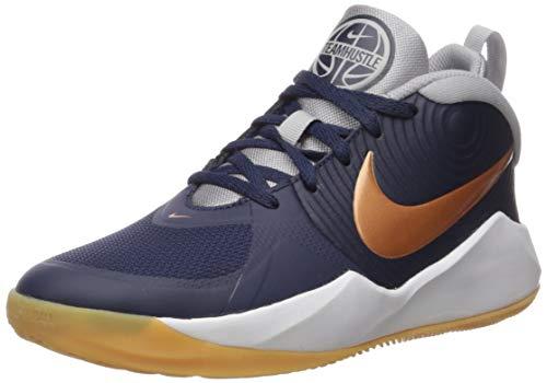 Nike Unisex-Kinder Team Hustle D 9 Basketballschuhe, Mehrfarbig (Midnight Navy/Metallic Copper/Wolf Grey 402), 38.5 EU