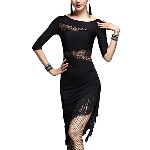 Zhhlaixing Hot Womens Fringe Lace lateinisch Salsa Competition Dance Skirt Costume (Salsa Sexy Kleid)