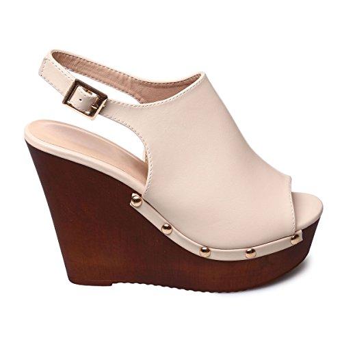 La Modeuse - Sandales compensées aspect cuir Beige