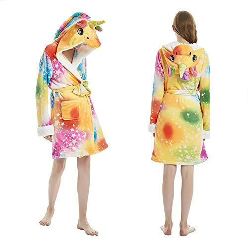 wrrry Einhorn Bademantel Morgenmantel PJs Pyjamas für Erwachsene/Kinder aus Flanell mit Kapuze, Gürtel - Unicorn Design(L für Höhe 150-165 cm)