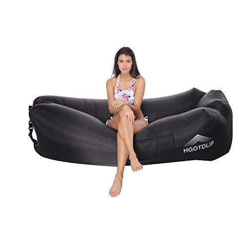 Tragbare aufblasbare Sofa Stuhl, Air Lounger Sofa Schlafsack, ideal für Lounging, Camping, Strand, Angeln, Kinder, Parteien. (Schwarz)
