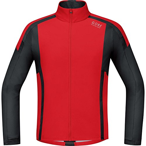 Gore Running Wear Air Windstopper Soft Shell - Camiseta de manga larga para hombre, color rojo / negro, talla M