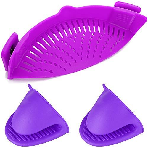 Colador de silicona con clip, filtro de escurridor YuCool manos libres resistente al calor para colador y colador de broches en cuencos, ollas y sartenes, con 2 guantes de silicona, color morado