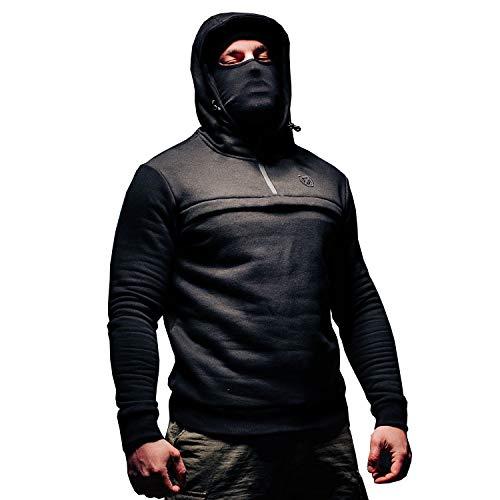 PGwear Herren Full Face Hoodie Frontliner mit Sturmhaube Black Olive ()