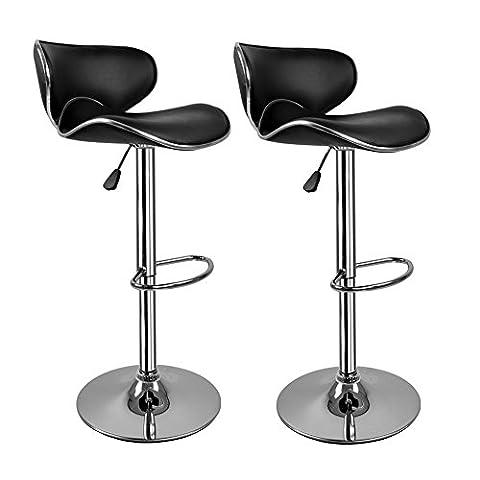 [Tabouret Noir] Hollylife Lot de 2 Tabouret de bar avec dossier réglableRotatif à 360 Dégrées, grande base 41.5cm en similicuir chaises de bar avec bague de jonction 2 ans de garantie pour Cafe Bar Comptoir ou Cuisine -Noir