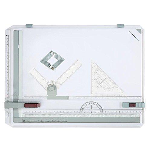 Zeichenbrett A3 Zeichenplatte Zeichenbrett Rapid-A3-Zeichenbrett Parallel-Zeichenschiene mit hoher Qualität DIN A3 Kunststoff weiß (DE Lager)
