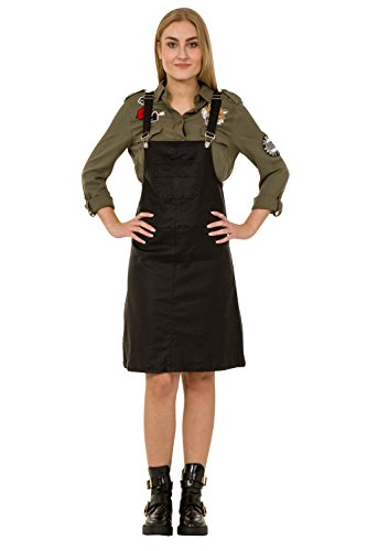Latzkleid Leder-Effekt Jeanskleid Latzhosenkleid Damen-Latzkleid Modisch PENNY-L-12