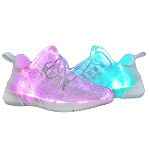 Yeeper LED Zapatillas Texitil de Fibra Óptica de 7 Colores de Luces con USB de Carga Transpirables...