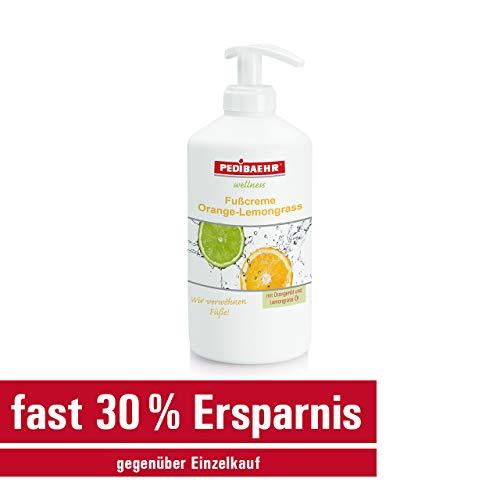 Fußcreme Orange- Lemongrass 500ml mit Spender Orangenöl und Lemongrass- Öl PediBaehr, 500 ml mit Spender