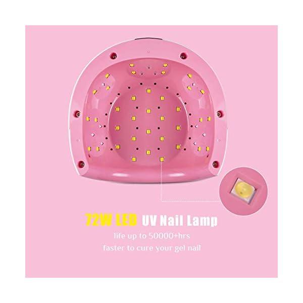Lámpara LED UV Uñas, Aiemok 72W Lámpara Secador de Uñas, LCD Secador de uñas Lámpara de Curado con 4 Temporizadores…