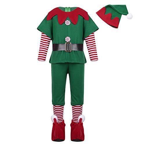 Freebily Weihnachtskostüm Kinder Jungen Mädchen Weihnachten Outfit Kleid/Tops mit Hut Gürtel Strumpfhosen Set für Cosplay Halloween Party Kostüm Kleidung Set Grün Jungen 98-104/3-4 ()